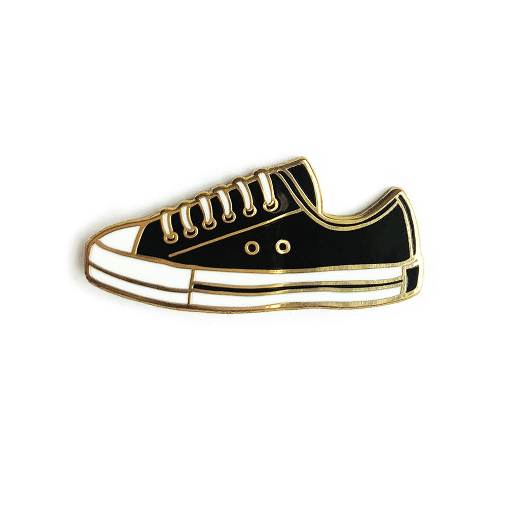 black sneaker shoe hard enamel pin
