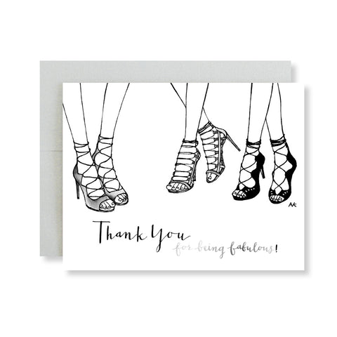 thank you for being fabulous heel sandal illustration card