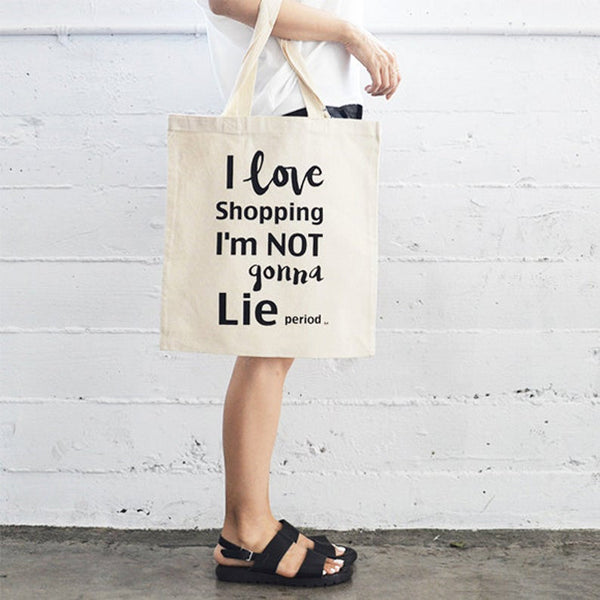 I Love Shopping Flat Tote Natural