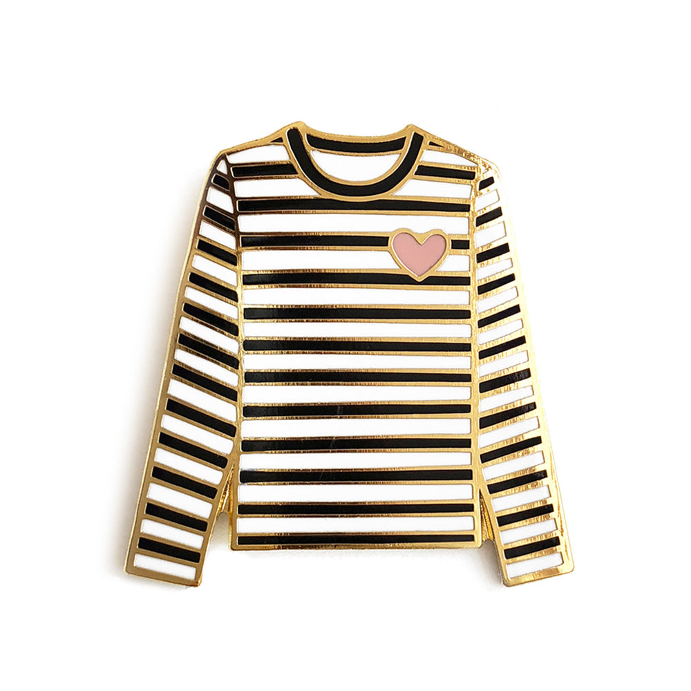 Striped tshirt enamel pin