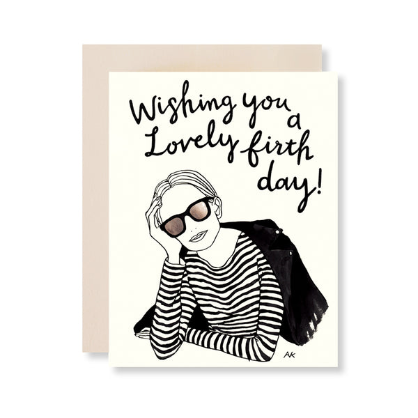 stylish woman fashion illustration birthday card