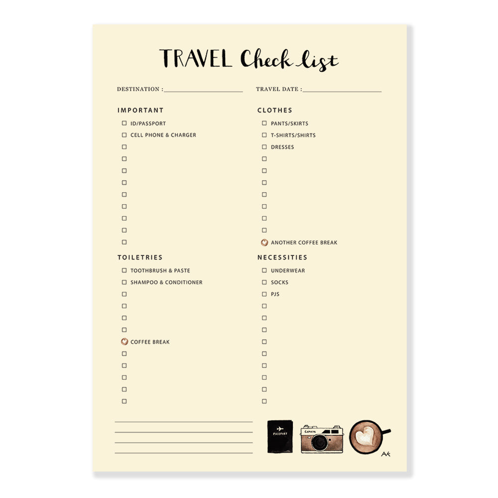 coffee travel checklist