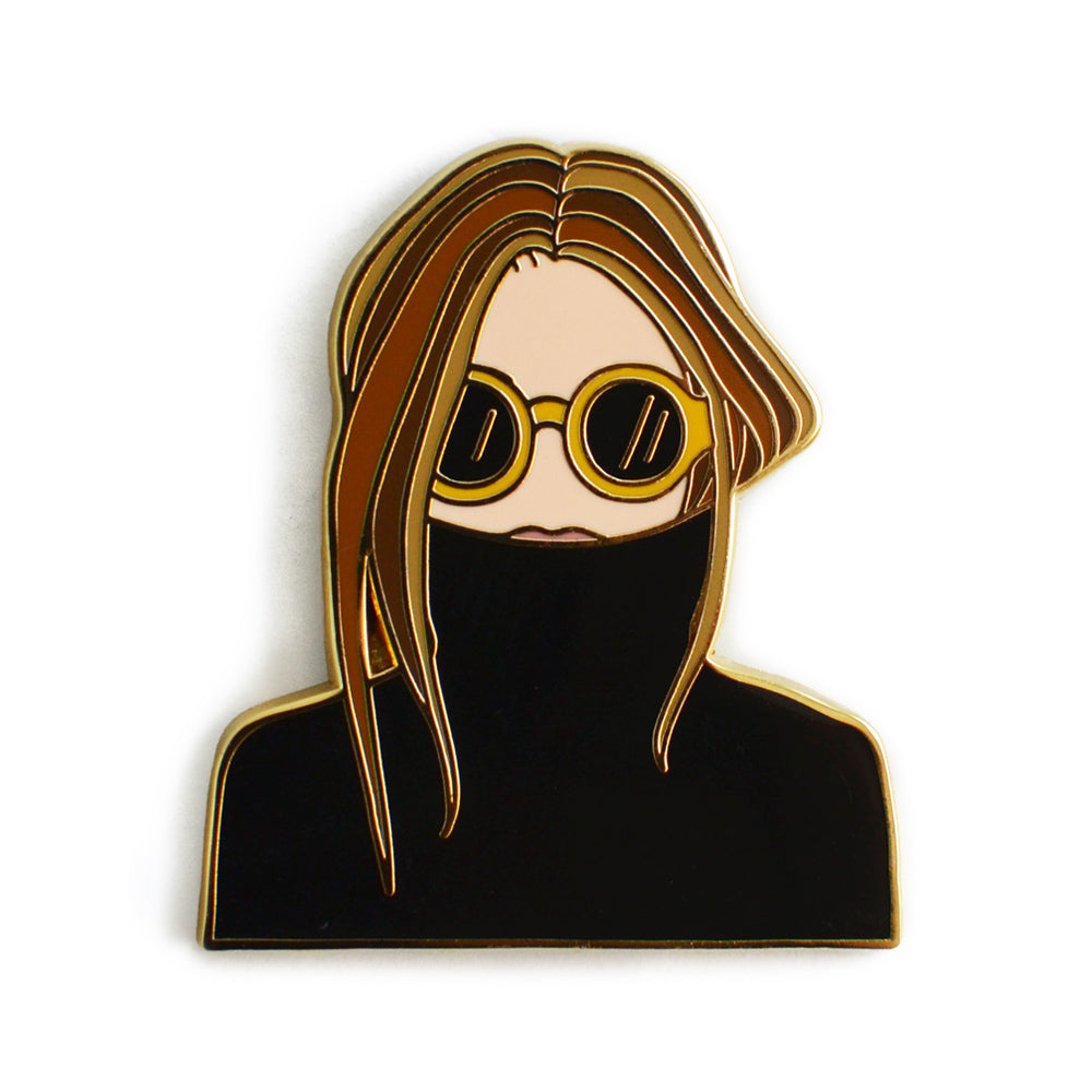 Black Turtleneck Woman Enamel Pin