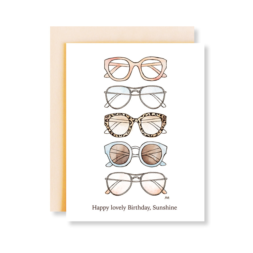 colorful sunglasses fashion illustration birthday card