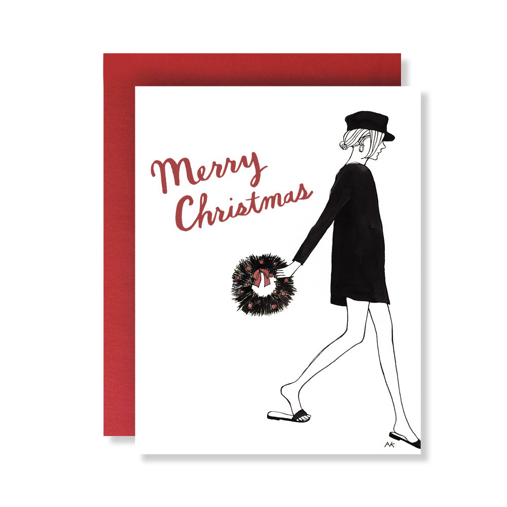 Fashion illustration woman wreath Christmas card