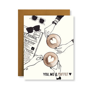 you me and coffee card for best friend, husband, boyfriend