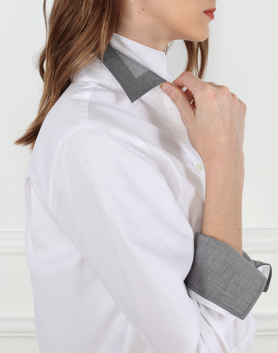 THE MEGHAN WHITE SHIRT W/ DOUBLE COLLAR AND CUFFS