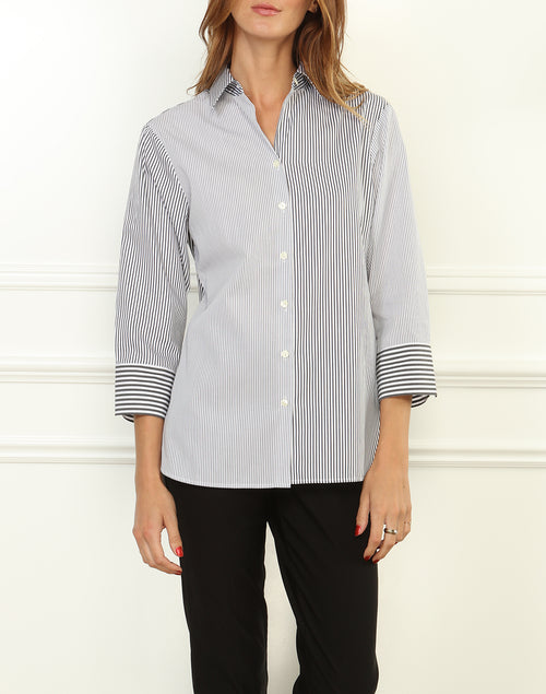 MARGOT SHIRT - BLACK/WHITE - STRIPE/CHECK