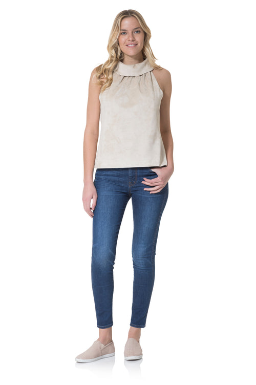 FAUX SUEDE COWL NECK TOP - CAMEL