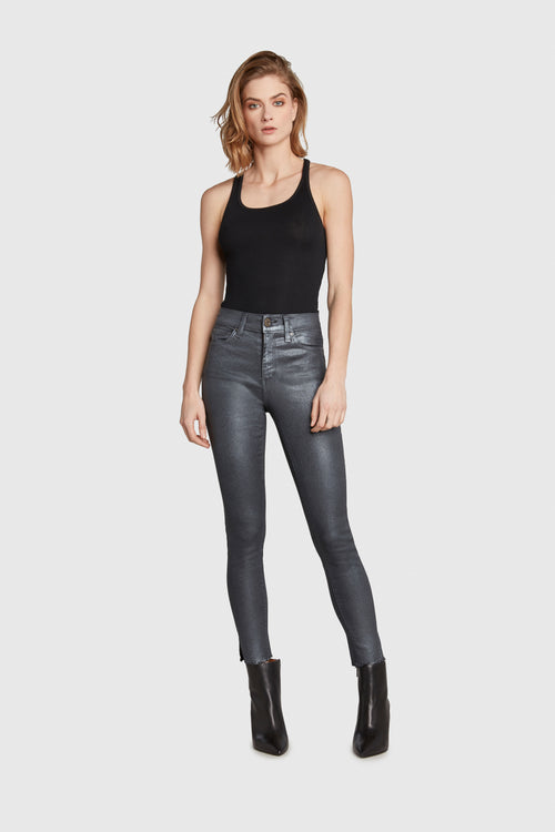 HIGH RISE GUN METAL COATED JEANS