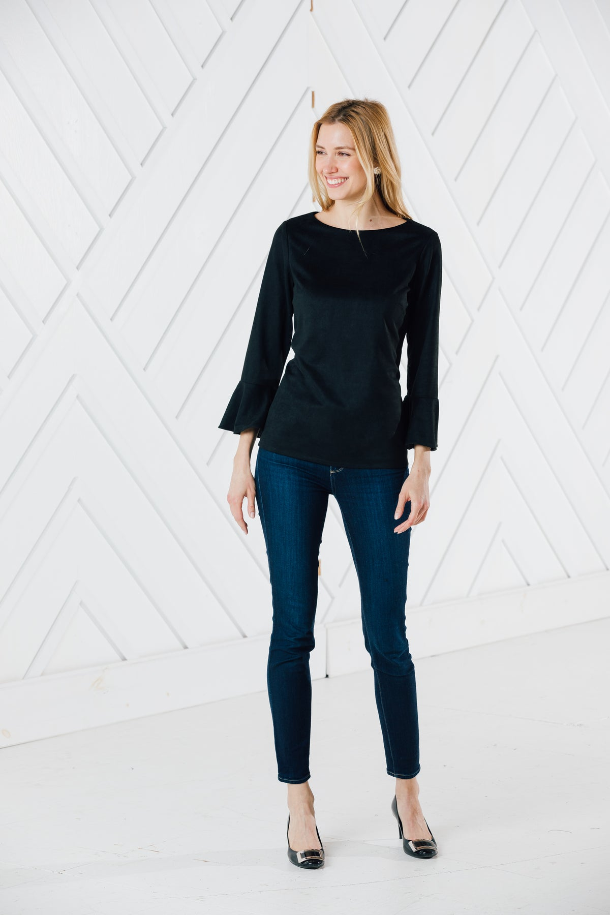 FAUX SUEDE FLUTTER SLEEVE TOP - BLACK