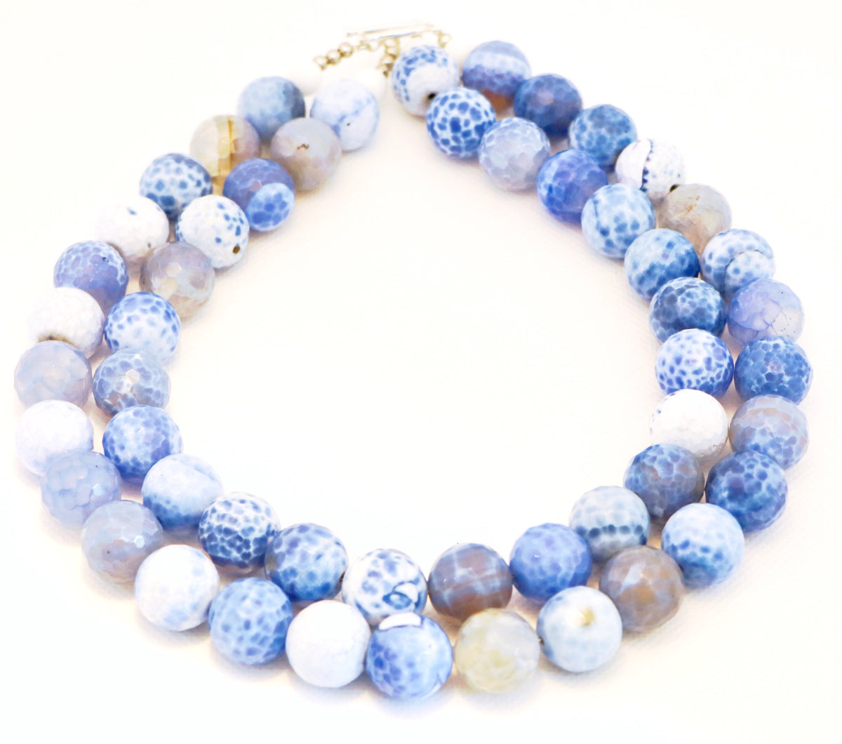 BLUE & WHITE FACETED BEAD NECKLACE