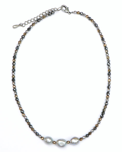 GREY PEARL NECKLACE WITH MULTI-COLORED ACCENT CHAIN