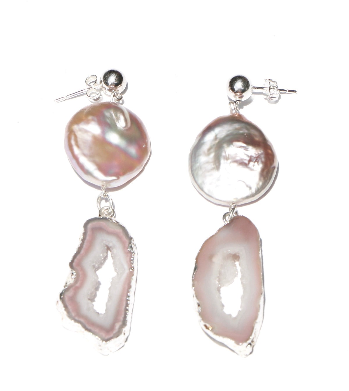 PINK DRUSY W/ LARGE PEARL EARRINGS