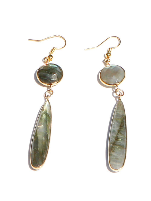 GREEN FACETED STONE DROP EARRINGS