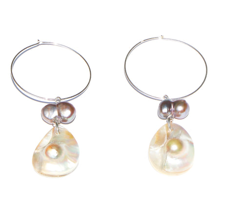 WHITE TEARDROP BLISTER PEARL EARRINGS