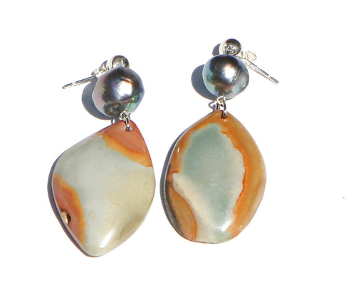 BLUE & KHAKI SAND STONE DROP EARRINGS