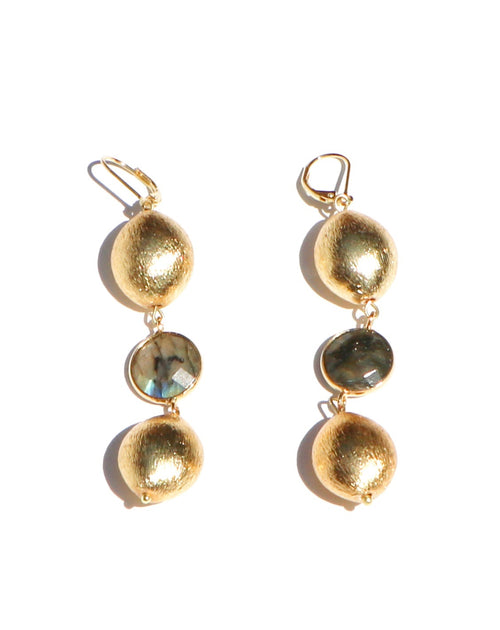 LABRADORITE BETWEEN GOLD BEADS EARRINGS