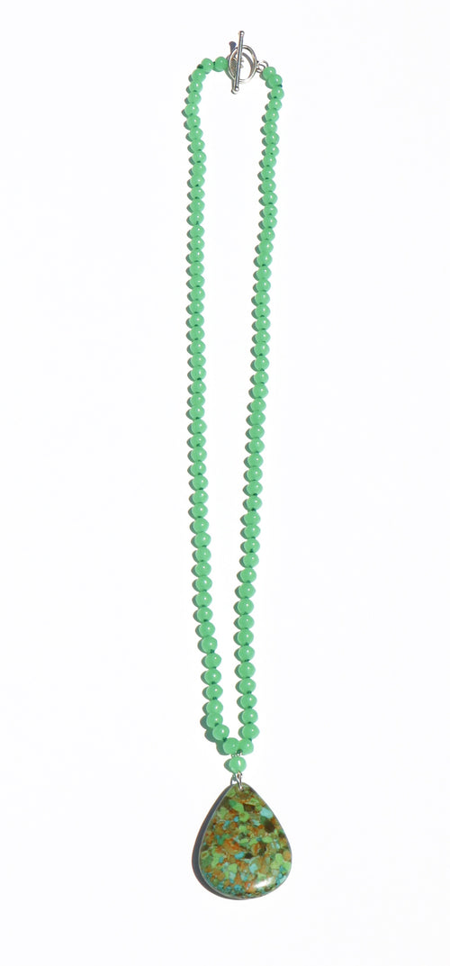 CHRYSOPRASE BEAD LONG NECKLACE