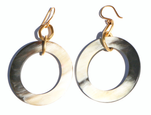 GOLD CIRCLE AND TORTISE EARRINGS