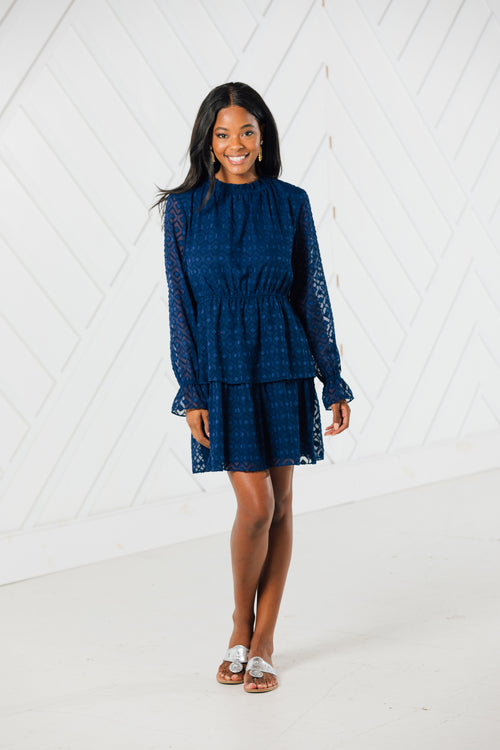 RUFFLENECK NAVY DRESS