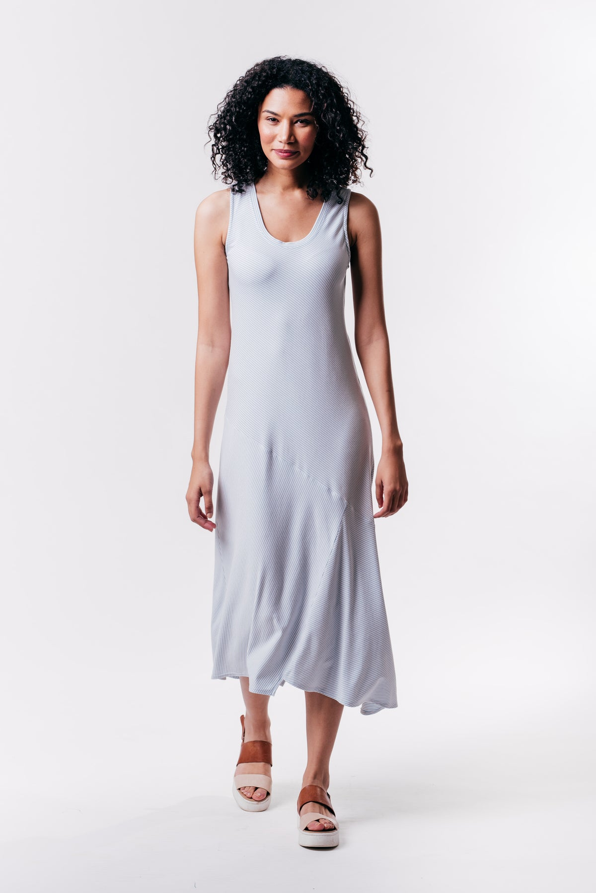 RILEY DRESS - STEEL STRIPE