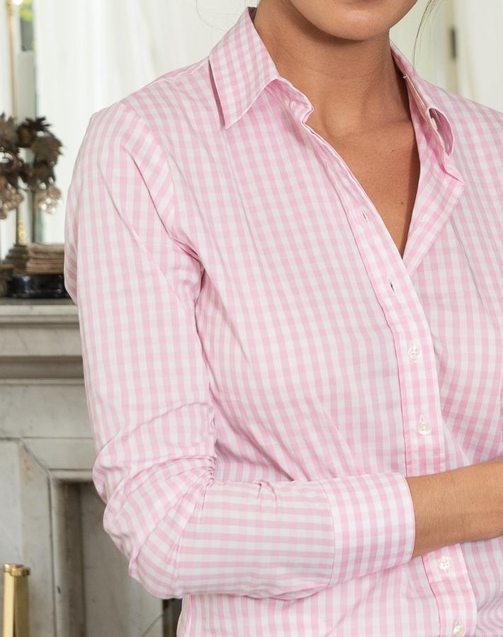 WHITE AND PINK LARGE CHECKED SHIRT