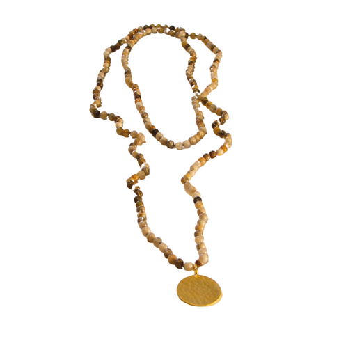 BAMBOO AGATE NECKLACE WRAP W/ GOLD DISC