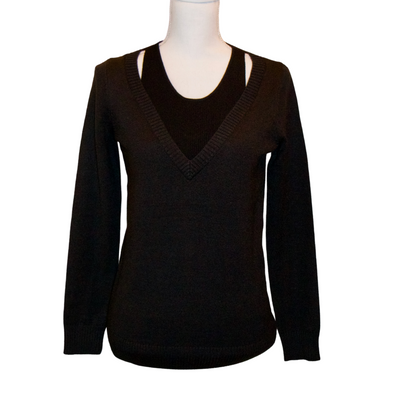 HALTER LAYERED SWEATER - BLACK