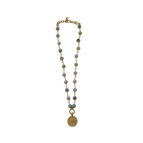 AMAZONITE NECKLACE WITH GOLD DISC