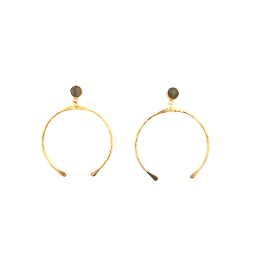 GOLD HORSE SHOE EARRINGS W/ LABRADORITE STONE