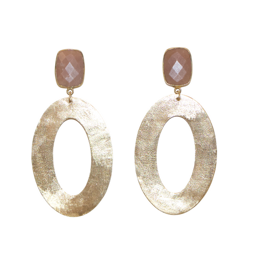 MARTHA EARRINGS WITH PEACH MOONSTONE