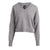 V NECK CROPPED CREW PULLOVER - MARIED GRAY