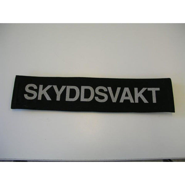 ID Label PATCH, Text SKYDDSVAKT in Swedish on Black surface Velcro removable - body-armour.com