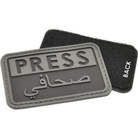 SBA Helmet ID Label PATCH Text PRESS/JOURNALIST in English/Arabic on Black Velcro removable Set 2pcs - body-armour.com