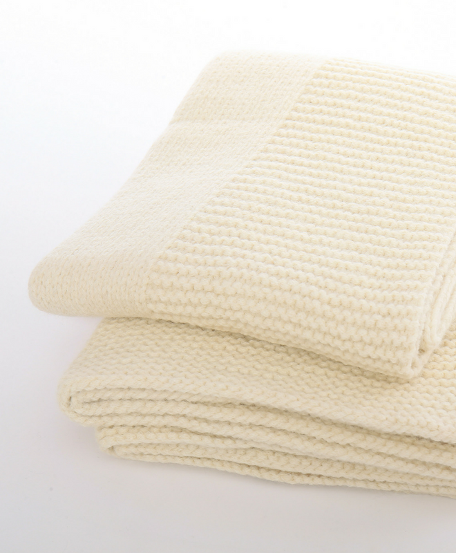 Abrazo Hand Knit 100% Baby Alpaca Blanket Throw by Sefte Living in Cream