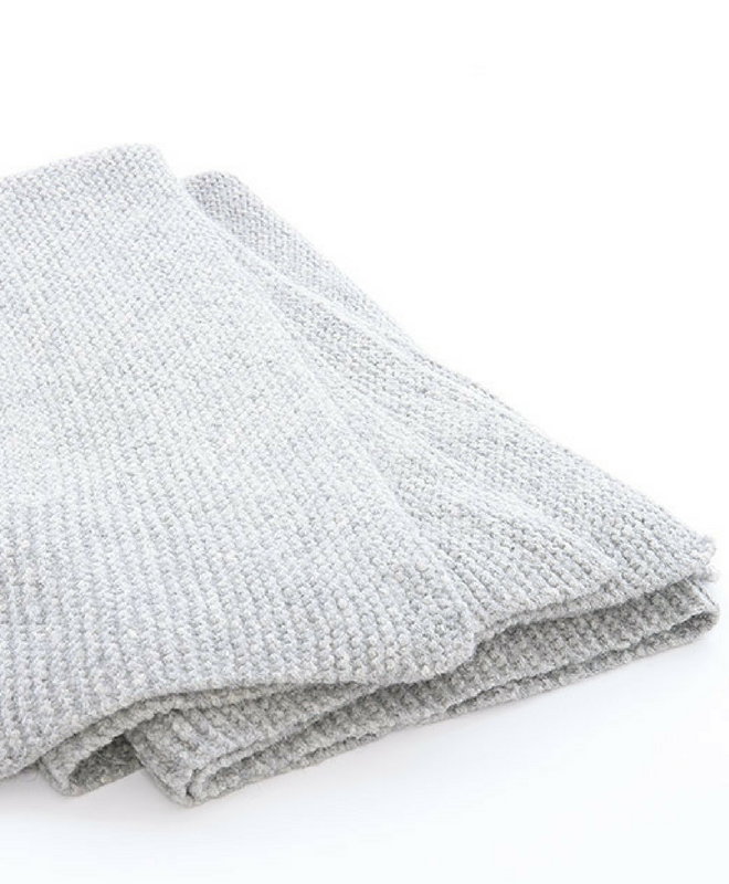 Abrazo Hand Knit 100% Baby Alpaca Blanket Throw by Sefte Living in Silver