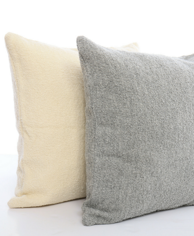 Our new Maya Boucle baby alpaca throw pillows are hand loomed in Peru and join our best selling Maya Boucle collection. Perfect as accents or as floor seating.