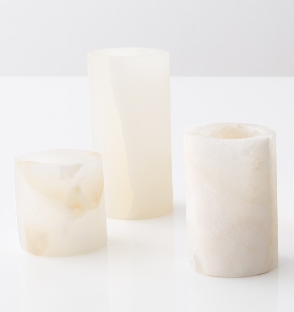 White Onyx Candle Holder Trio - Sefte