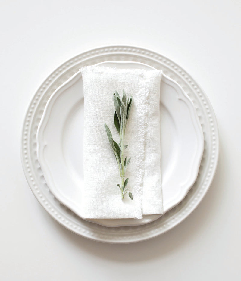 Set of 2 White Washed Linen Napkins With Fringes - Sefte