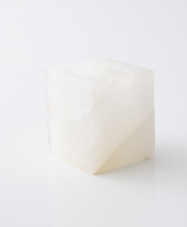 White Onyx Cube Candle Holder - Sefte