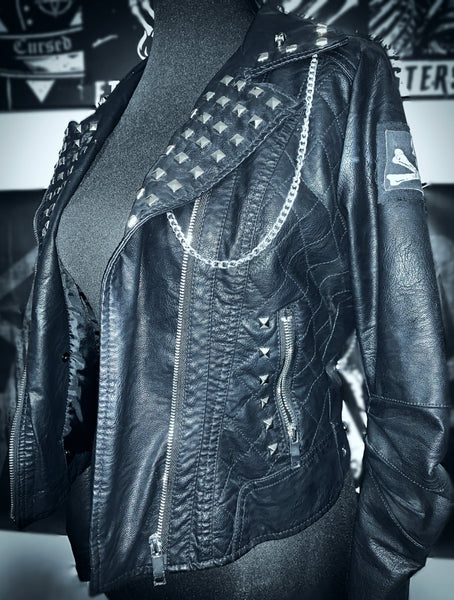 Ladies Chained Leather Jacket