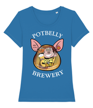 Load image into Gallery viewer, Ladies Cotton Potbelly Brewery Crazy Daze Scoop Neck T-Shirt