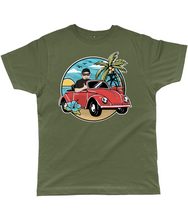 Load image into Gallery viewer, Men's T-Shirt of a Man Driving Convertible Beetle near the Beach