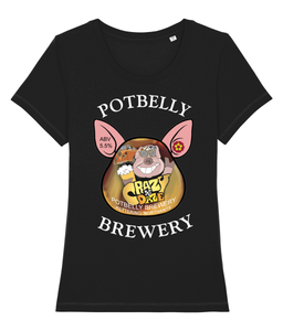 Ladies Cotton Potbelly Brewery Crazy Daze Scoop Neck T-Shirt