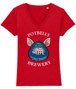 Ladies Cotton Potbelly Brewery Pigs Do Fly V-Neck T-Shirt