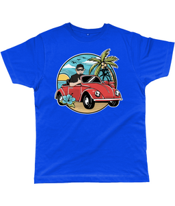 Men's T-Shirt of a Man Driving Convertible Beetle near the Beach