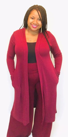 Burgundy Duster Cardigan