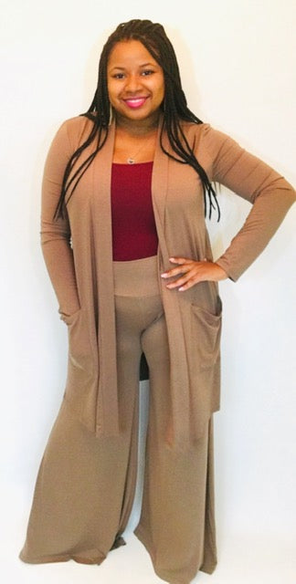 Mocha Knee Length Cardigan