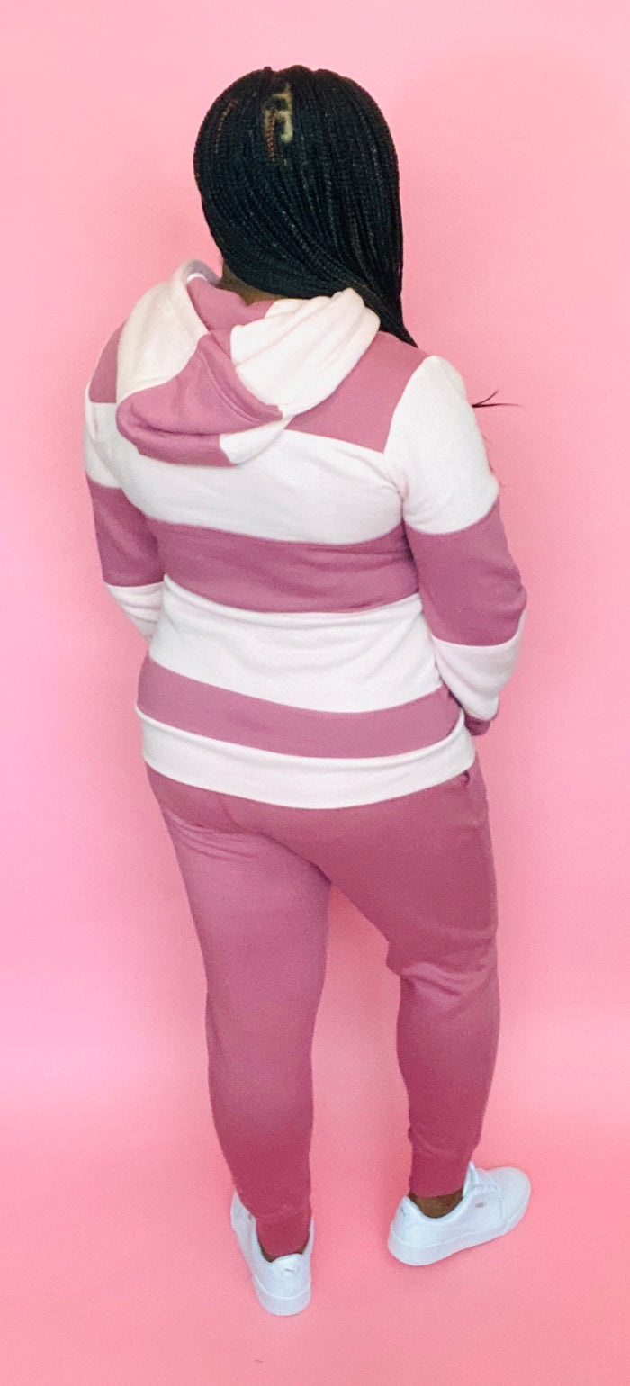 The Classic Striped Sweatsuit (Pink)